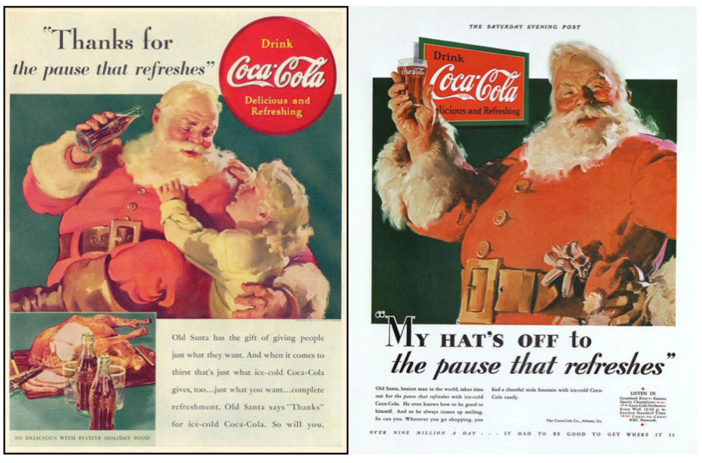 Advertsing campaign created for Coca Cola in the 1930s by D'arcy Advertsing Agency and illustrator Haddon Sundblom