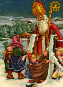 St Nicholas bringing gifts to children